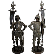 19th c Pair of Cast Patinated Bronze Knights