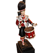 Carved Wooden Scottish Highlander Drummer Boy