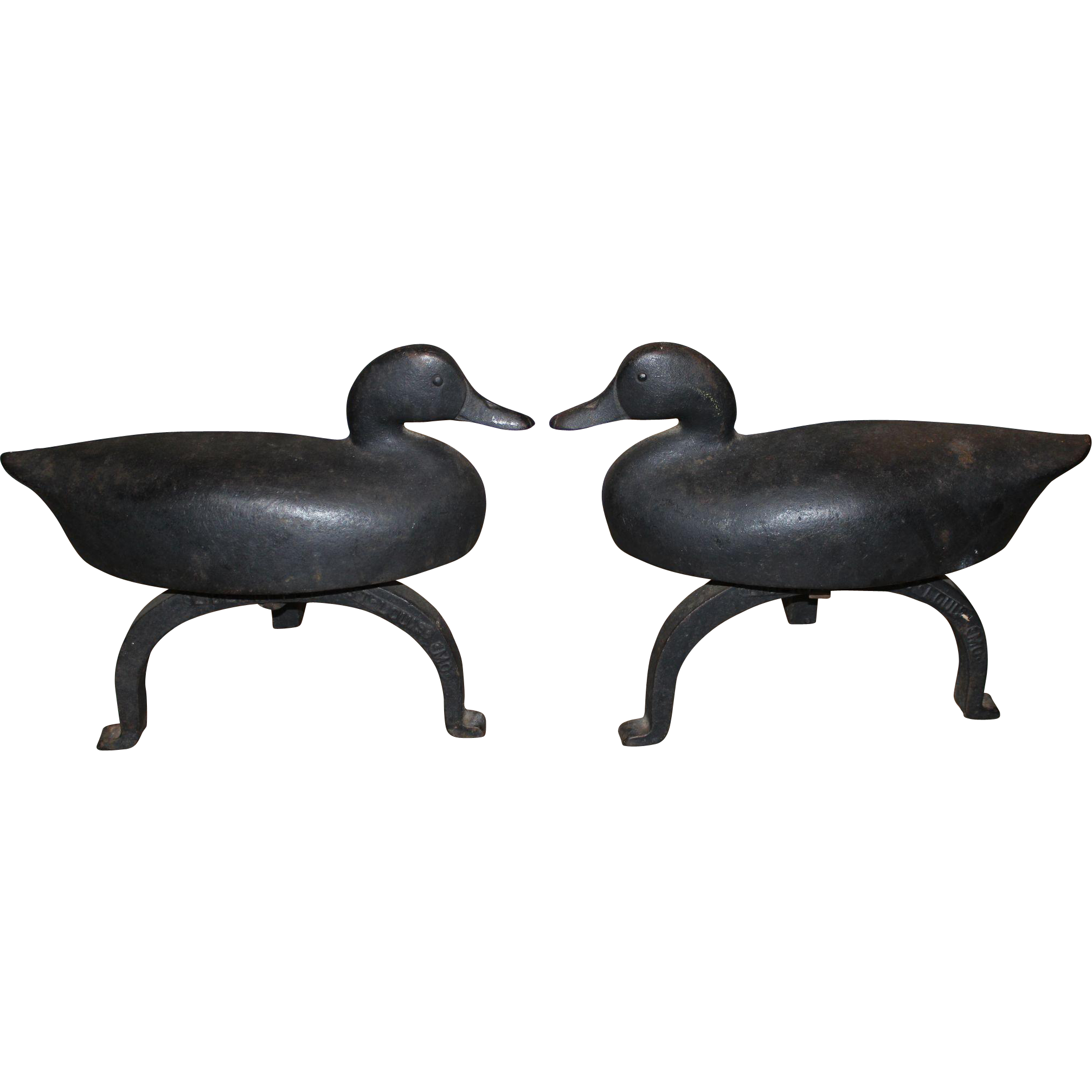 Pair of Cast Iron Duck Andirons - Liberty Foundry, St. Louis MO circa 1930