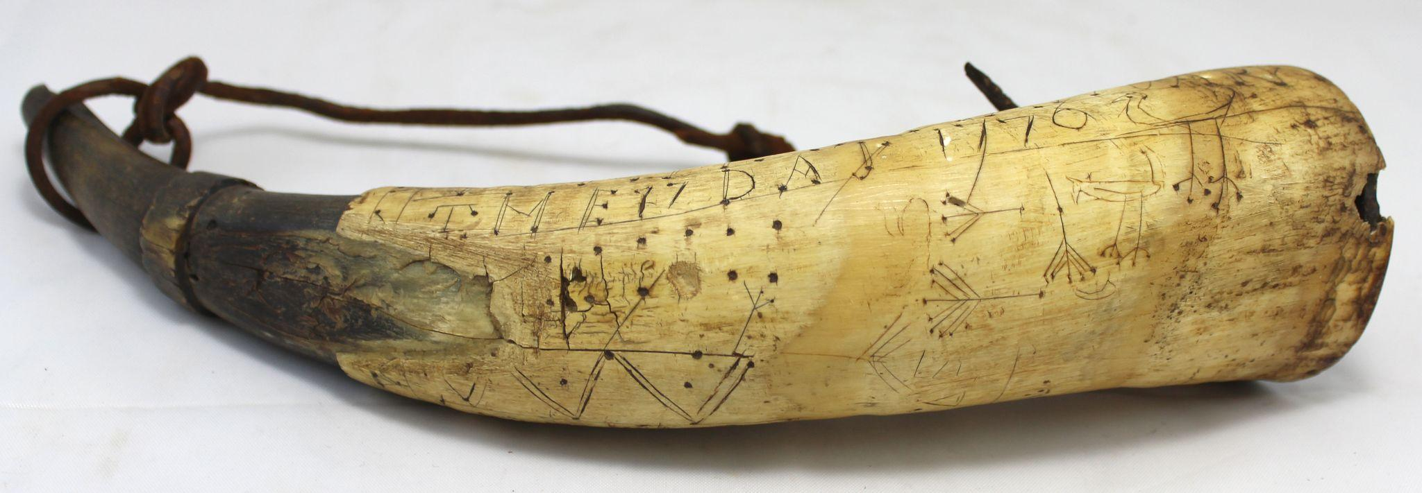 Revolutionary War Carved Powder Horn Benjamin Durgin Durham NH dated ...