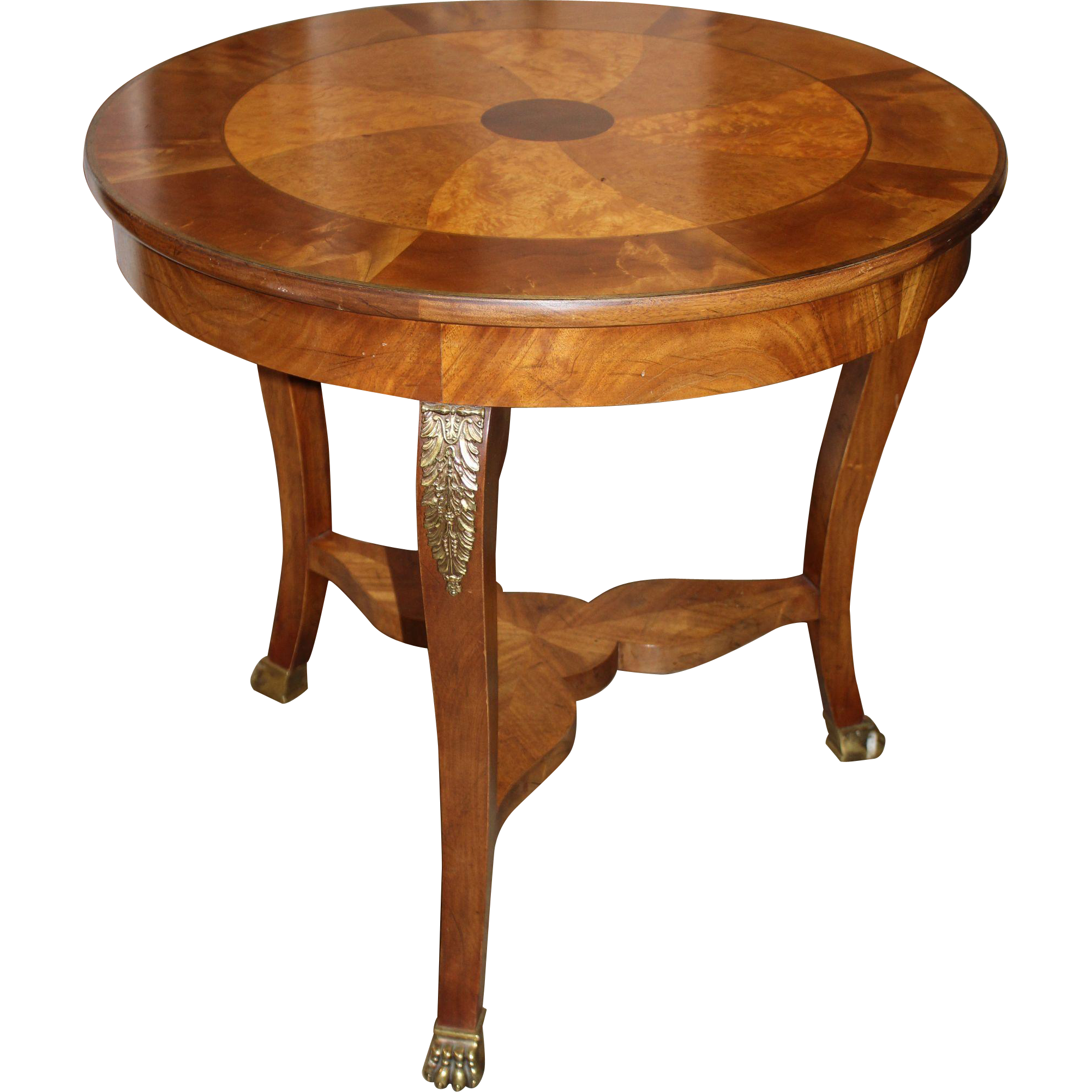Baker furniture fruitwood and mahogany center table with for Baker furniture
