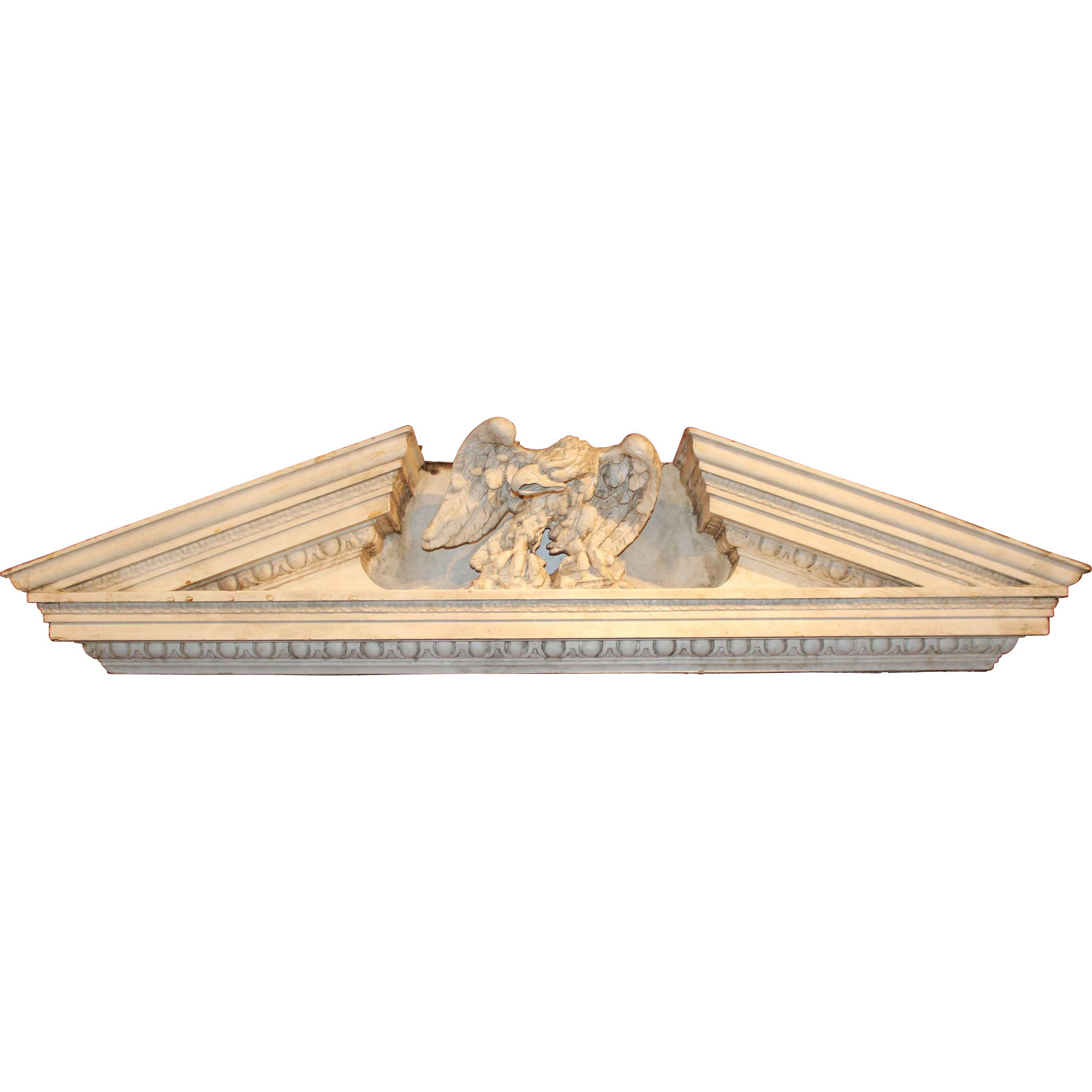 Wood and Gesso Architectural Pediment with Eagle, Newport RI