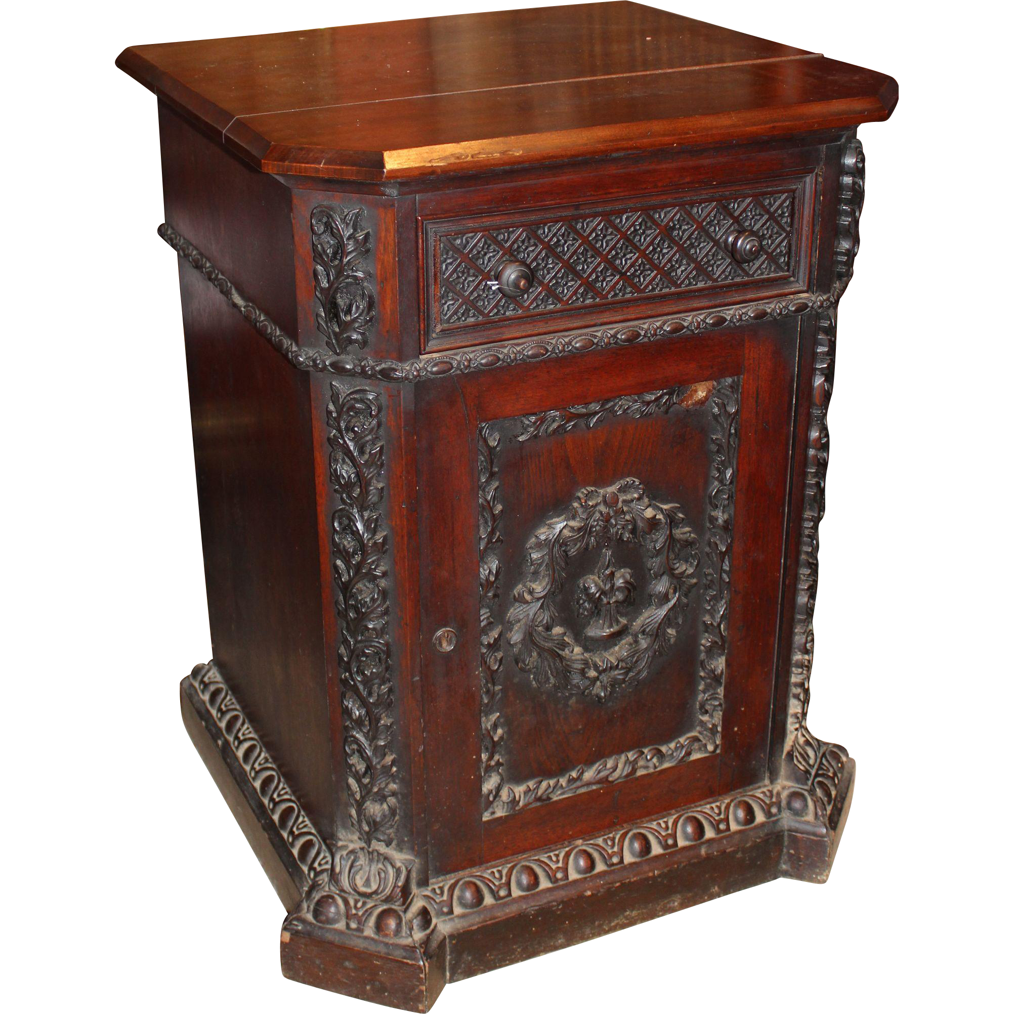 19th c Georgian Rosewood Half Commode with Elaborate Carving