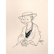 Albert Hirschfeld 90th Birthday Caricature Drawing of Jean Dalrymple 1992