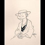 Albert Hirschfeld 90th Birthday Caricature Drawing of Jean Dalrymple 1992