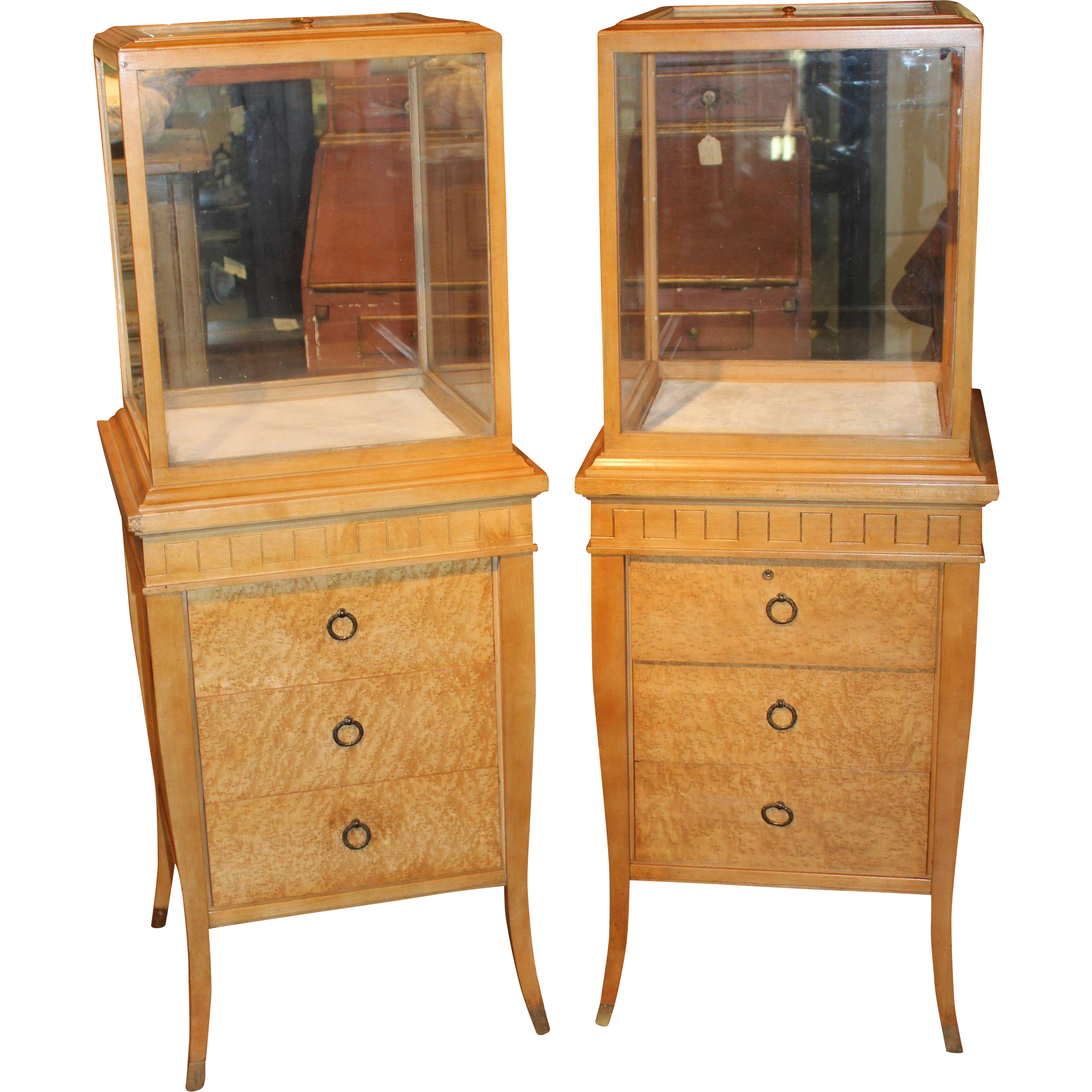 Pair of Custom Birds Eye Maple Three Drawer Display Cases