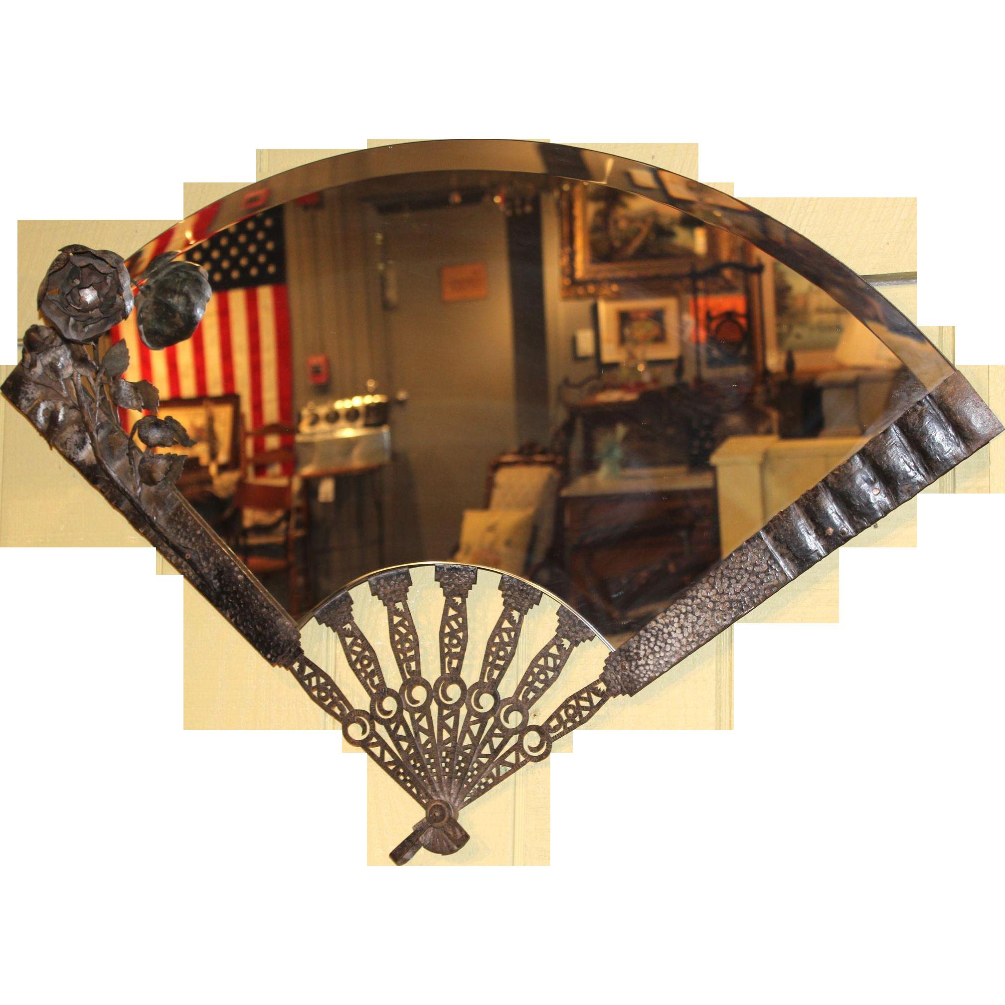 Metalwork Mirror in the Shape of a Folding Fan