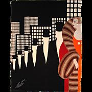 "Romain de Tirtoff (Erté) Large Art Deco Style Wall Tapestry, ""Top Hats"""