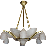 French Art Deco Six-Shade Chandelier by Verrerie des Hanots
