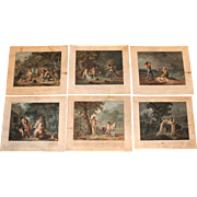 Set of 6 Hand Colored Aquatints by Charles Melchior Descourtis After Frédéric-Jean Schall