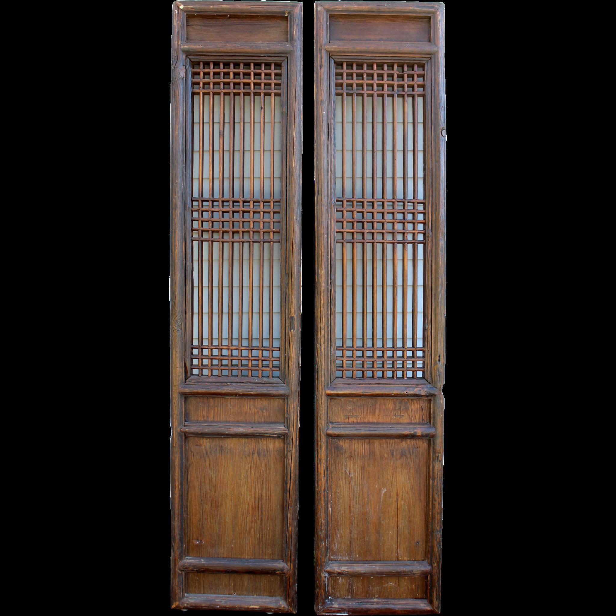 Pair of 19th Century - 20th Century Chinese Hardwood Reticulated Doors