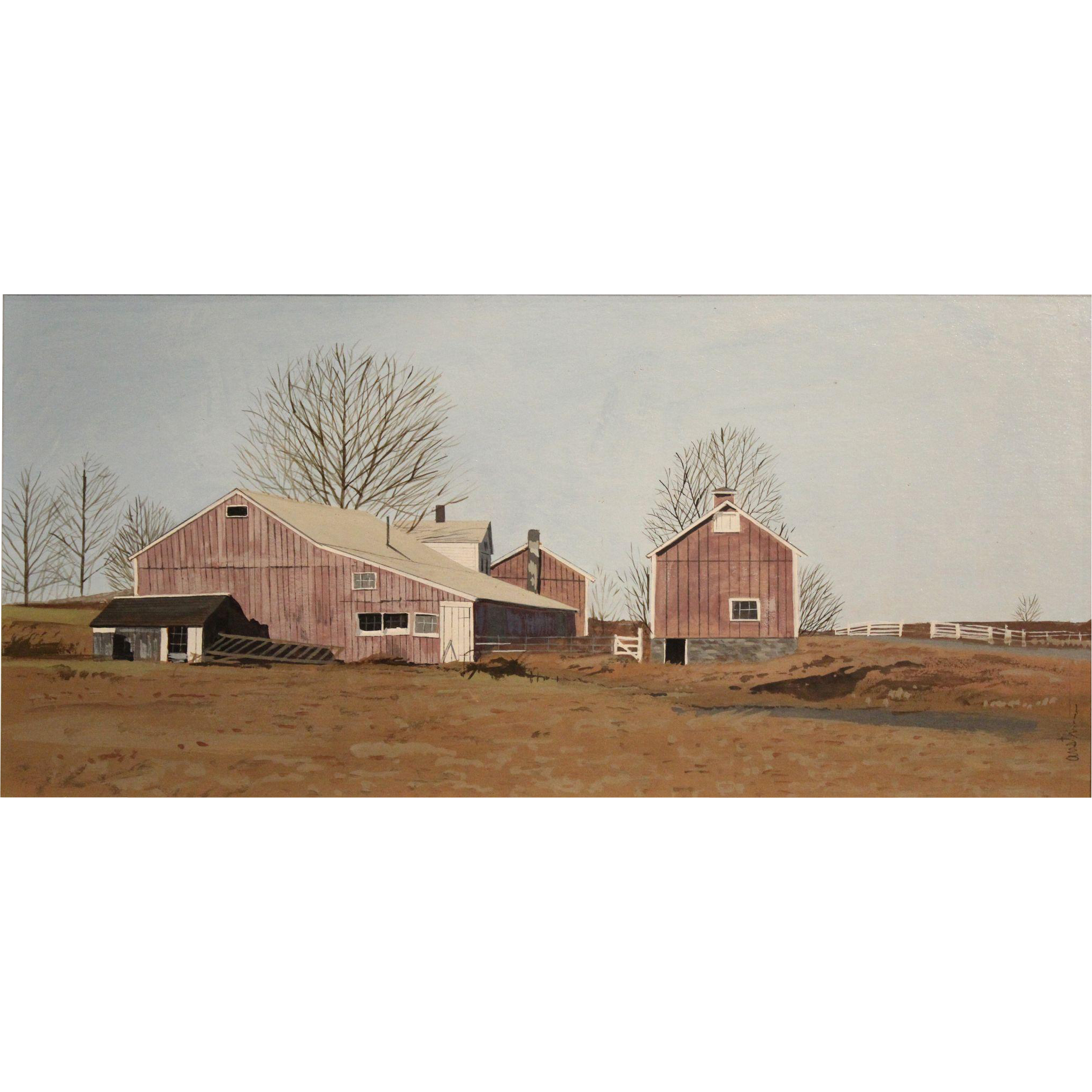 John Austin Nantucket MA Tempera Painting - Red Barns