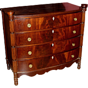 Sheraton Mahogany Swell Front Chest of Drawers with Ovolu Corners