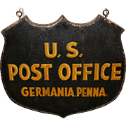 Early 20th Century Germania PA US Post Office Hanging Sign