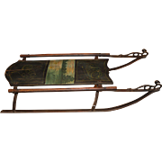 19th c Child's Sled with Lake Scene Polychrome Decoration