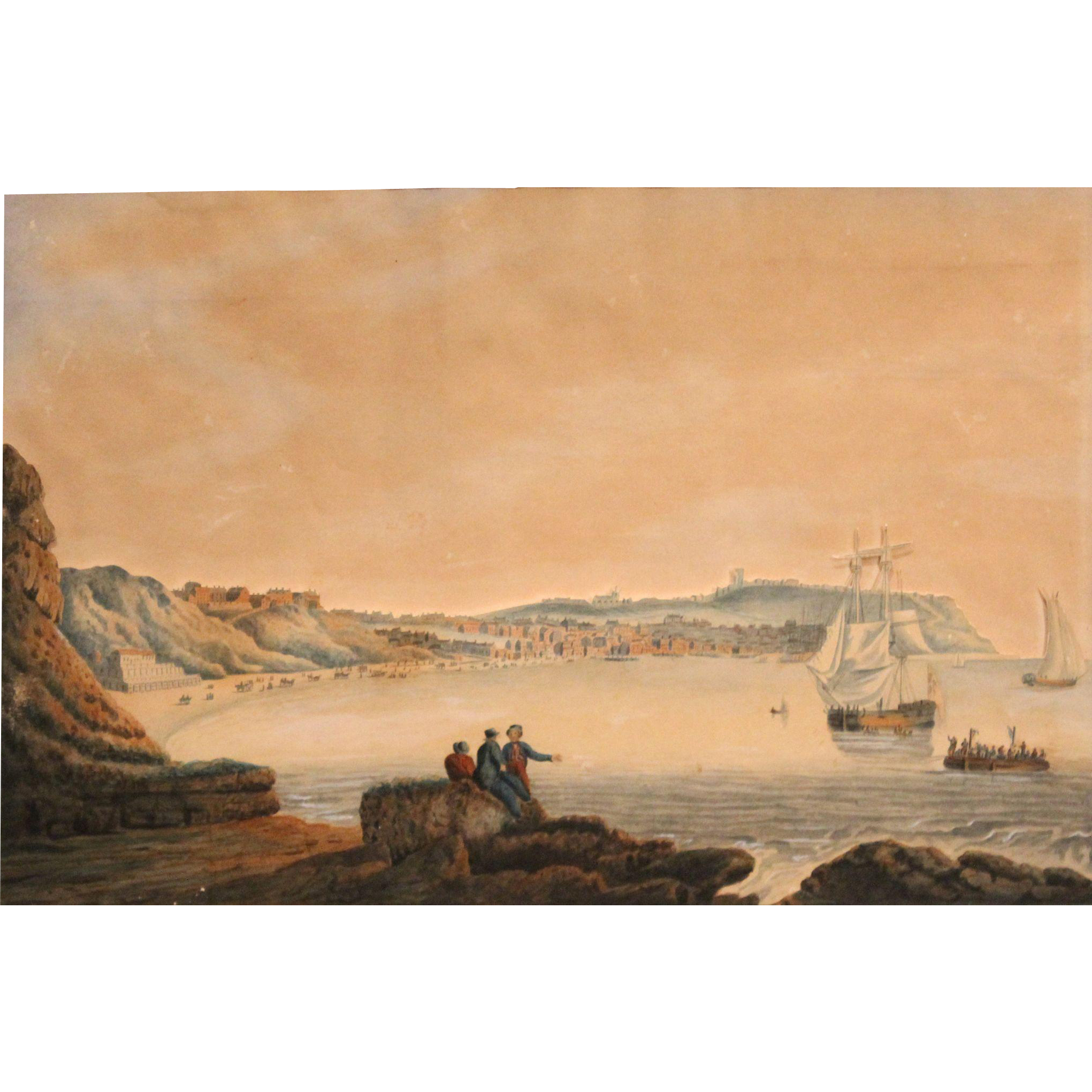 19th Century English Marine Watercolor in Relief of Scarborough Beach