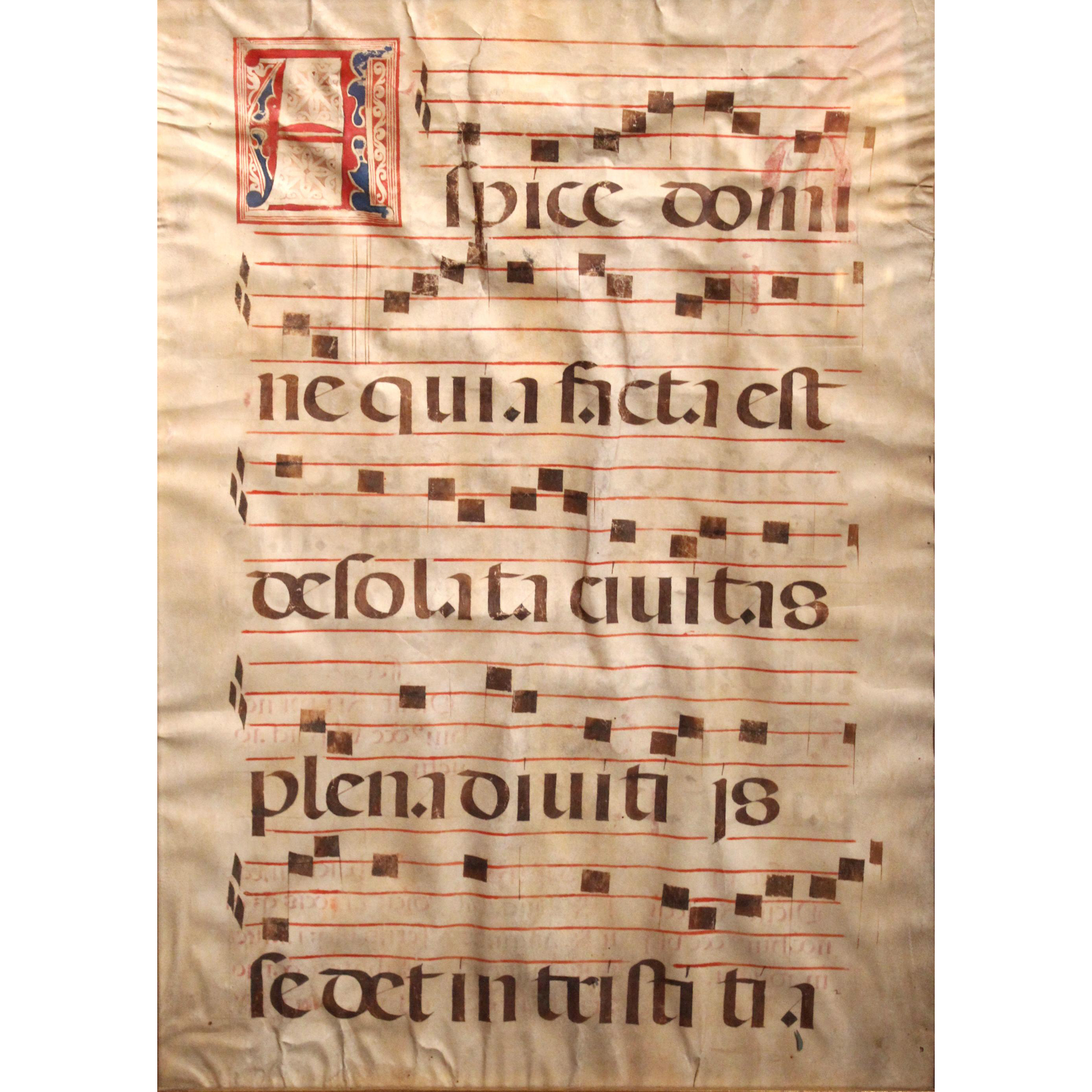 "Early Psalm ""Rejoice"" Hand Scribed in Latin on Vellum"