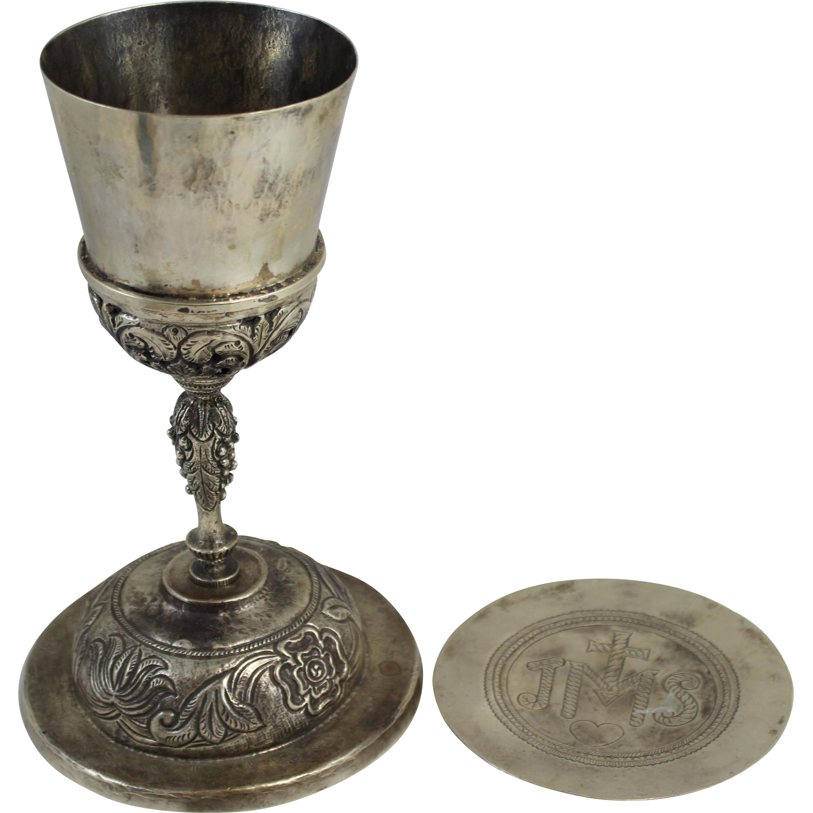 Early Silver Chalice with Silver Cover or Paten