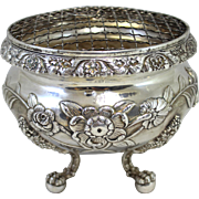 19th c Frederick Marquand Coin Silver Waste Bowl Fitted with Wire Insert for Flowers