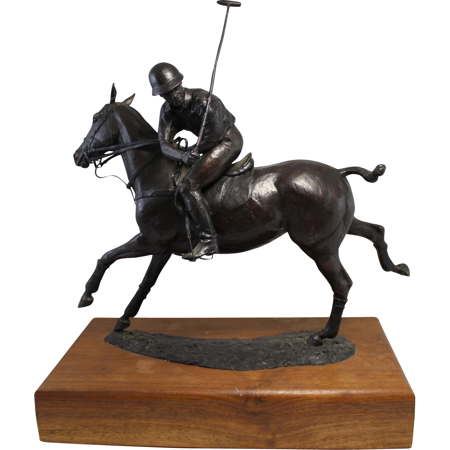 Liza Todd Tivey Bronze Equestrian Sculpture of a Polo Player on Horse