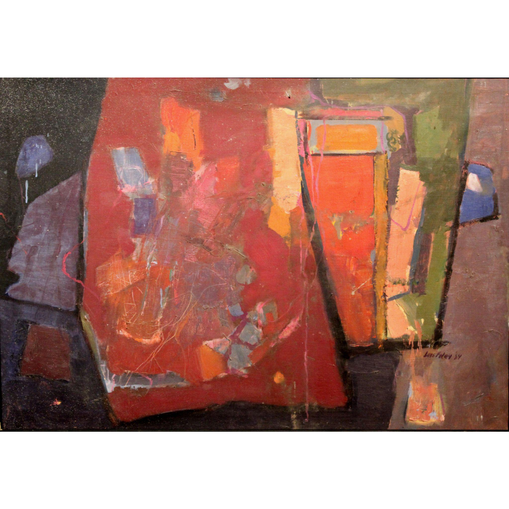 Lois Foley Abstract Painting with Red Tones