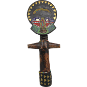 20 Inch 20th c Ghana Wooden Folk Art Fertility Figure with Beadwork