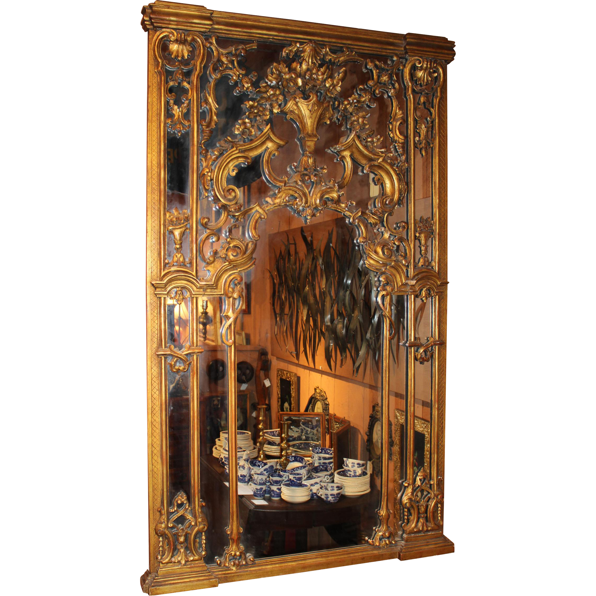 19th c Italian Carved Polychrome Gilt Wall Mirror