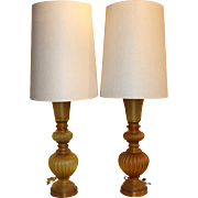Pair of Mid Century Gold Archimedes Seguso Italian Glass Table Lamps