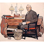 Edward Penfield Watercolor & Ink Painting of President Grover Cleveland 1907