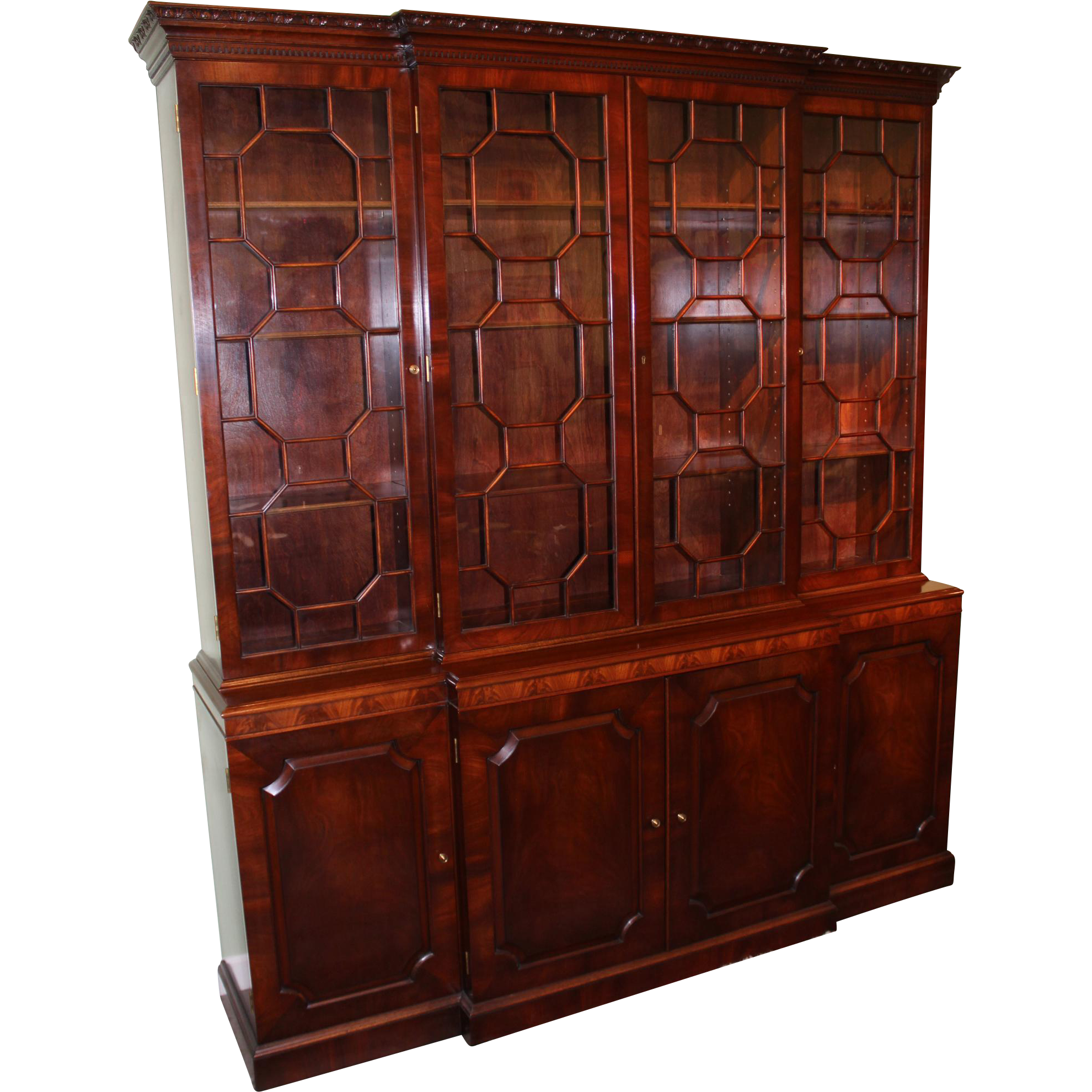 Joseph Gerte, Boston MA Mahogany Breakfront Server Cabinet or Bookcase