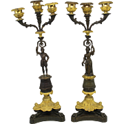 Pair of Patinated Bronze and Ormolu French Empire Candelabra