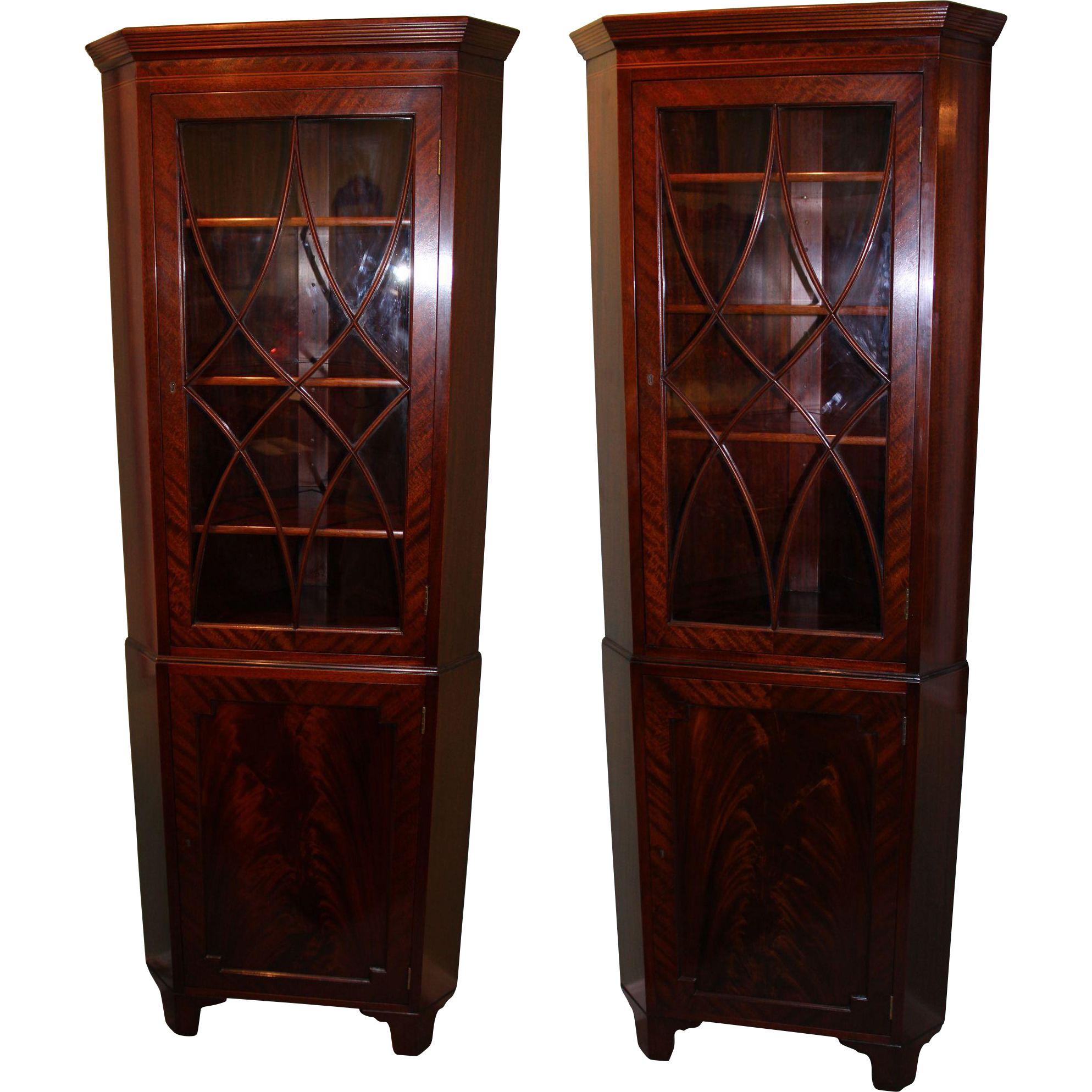 Pair Of Sheraton Style Mahogany Corner Cabinets By Old Colony, Boston MA