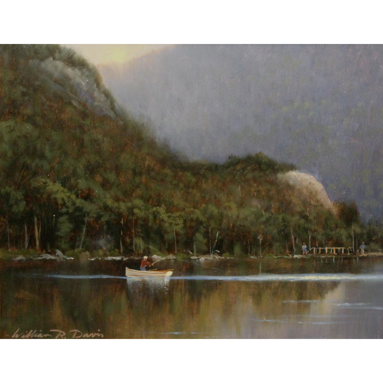 William R. Davis Landscape Oil Painting- Trout Fishing, Echo Lake, Crawford Notch, NH