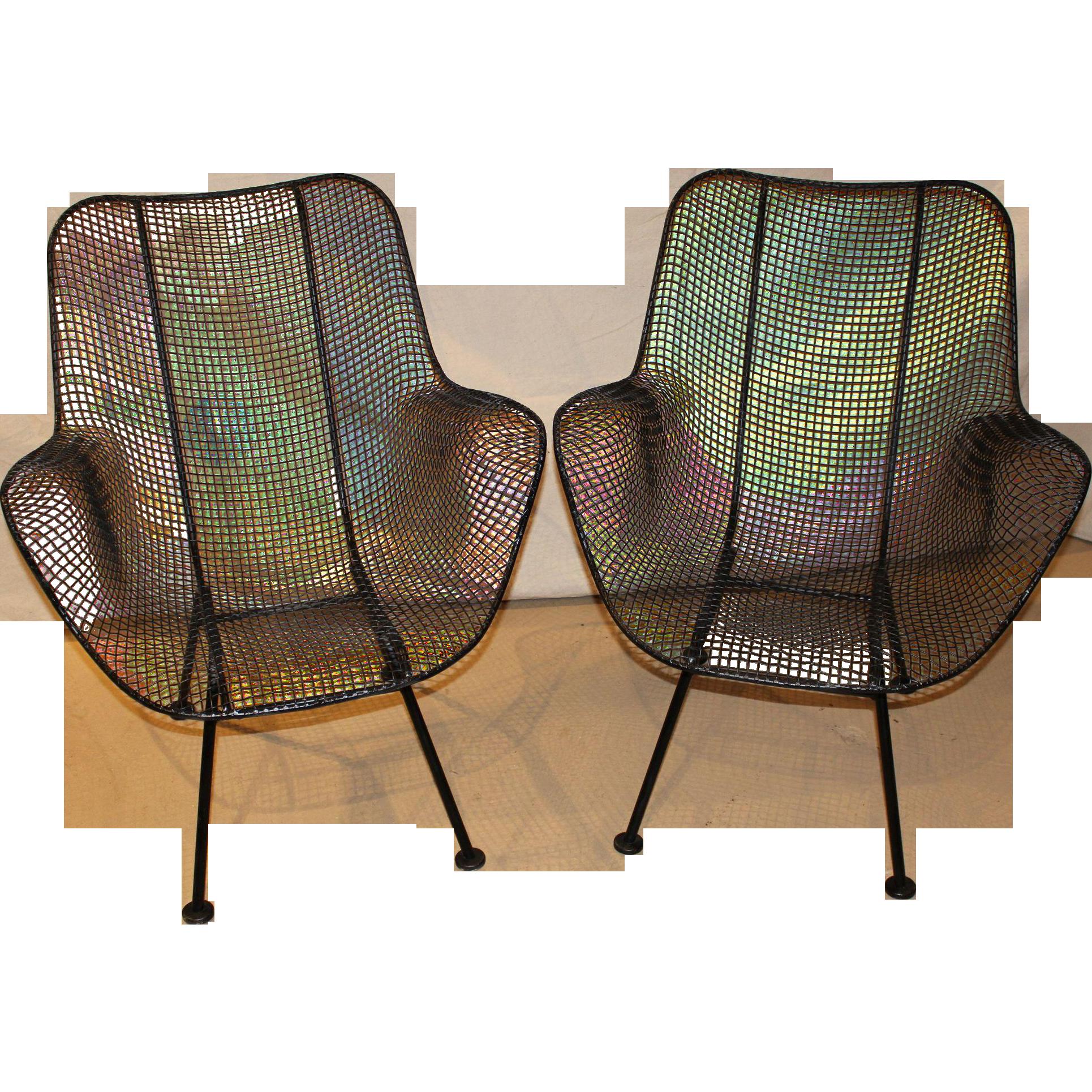 Delightful Pair Of Russell Woodard Sculptura Wire Mesh Arm Chairs Circa 1950u0027s