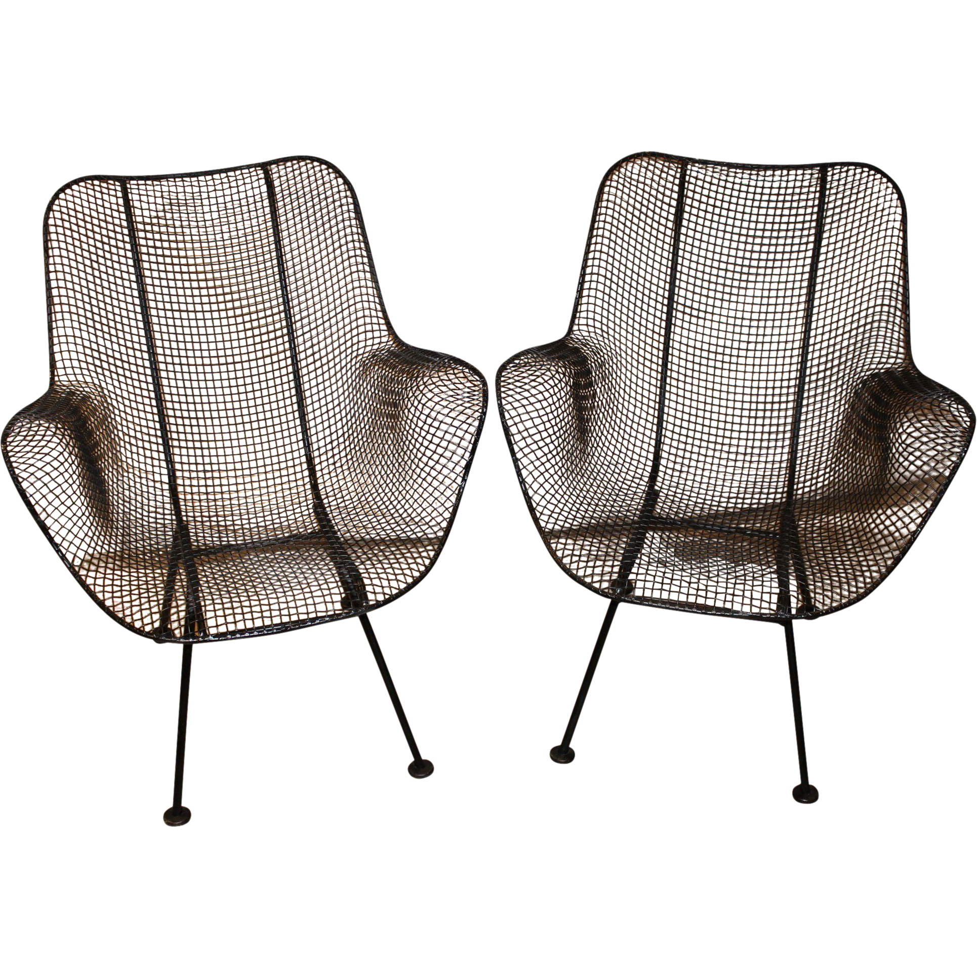 pair of russell woodard sculptura wire mesh arm chairs circa 1950 s