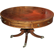 Large English Regency Rosewood Leather Top Drum Table, circa 1820