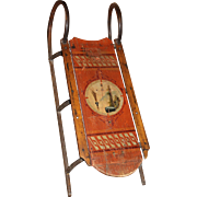 Hand Painted Bow Runner Child's Sled with Sailboat Decoration circa 1900