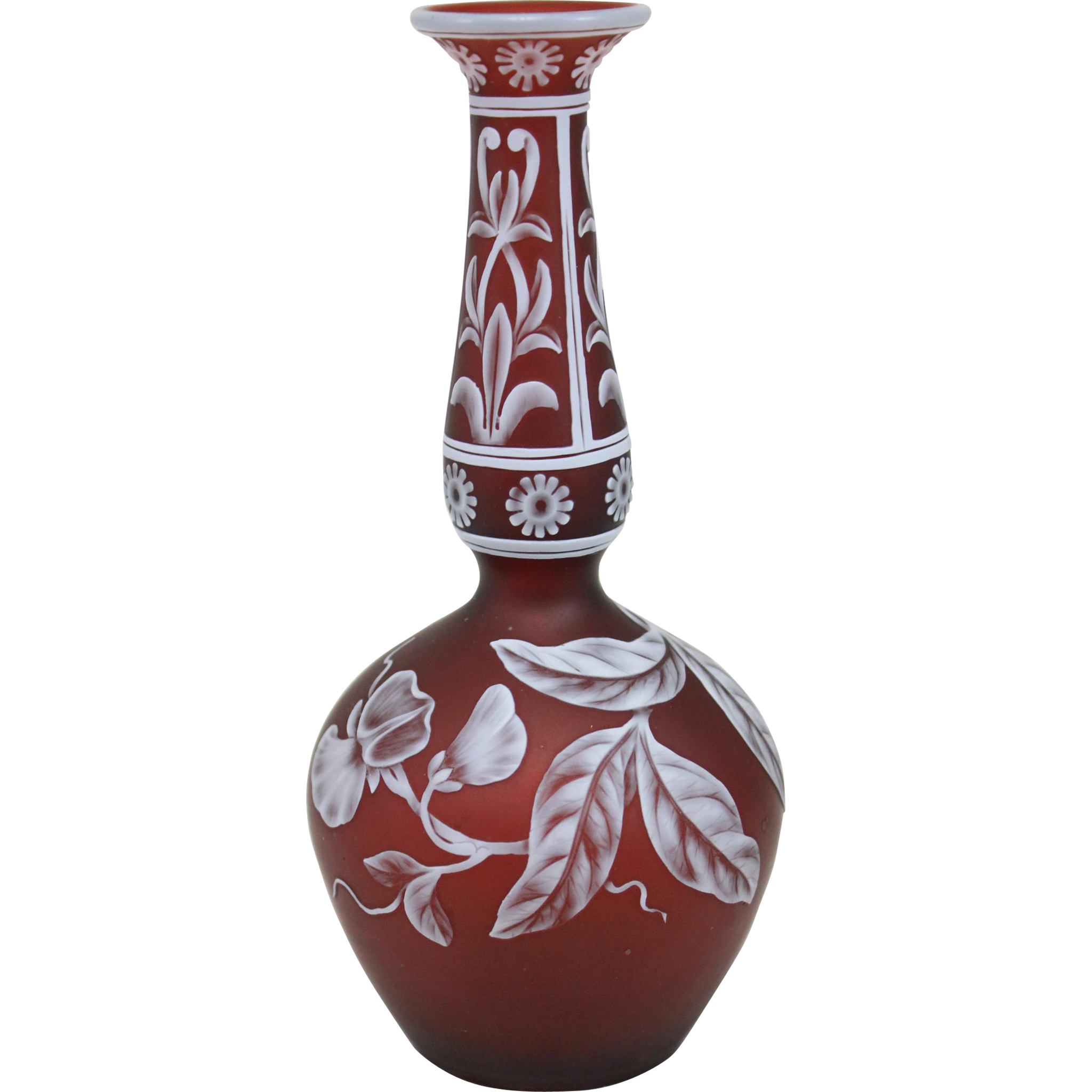 Unsigned 19th c Thomas Webb & Sons Diminutive Cranberry Cameo Vase