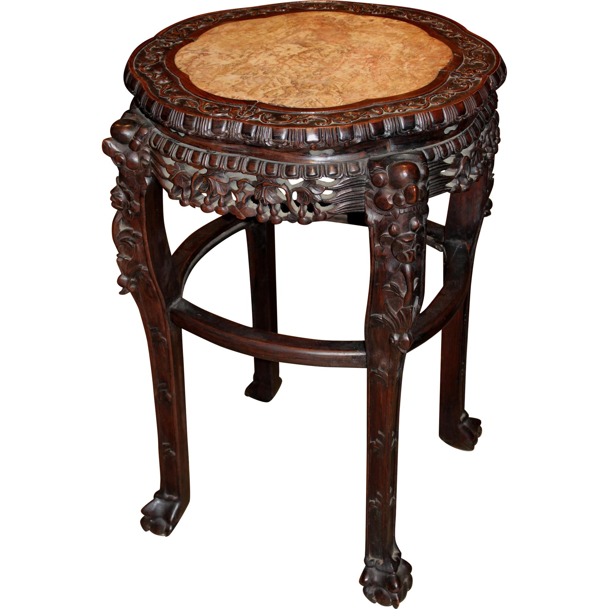 Marble Top Chinese Carved Teak Stand circa 1890