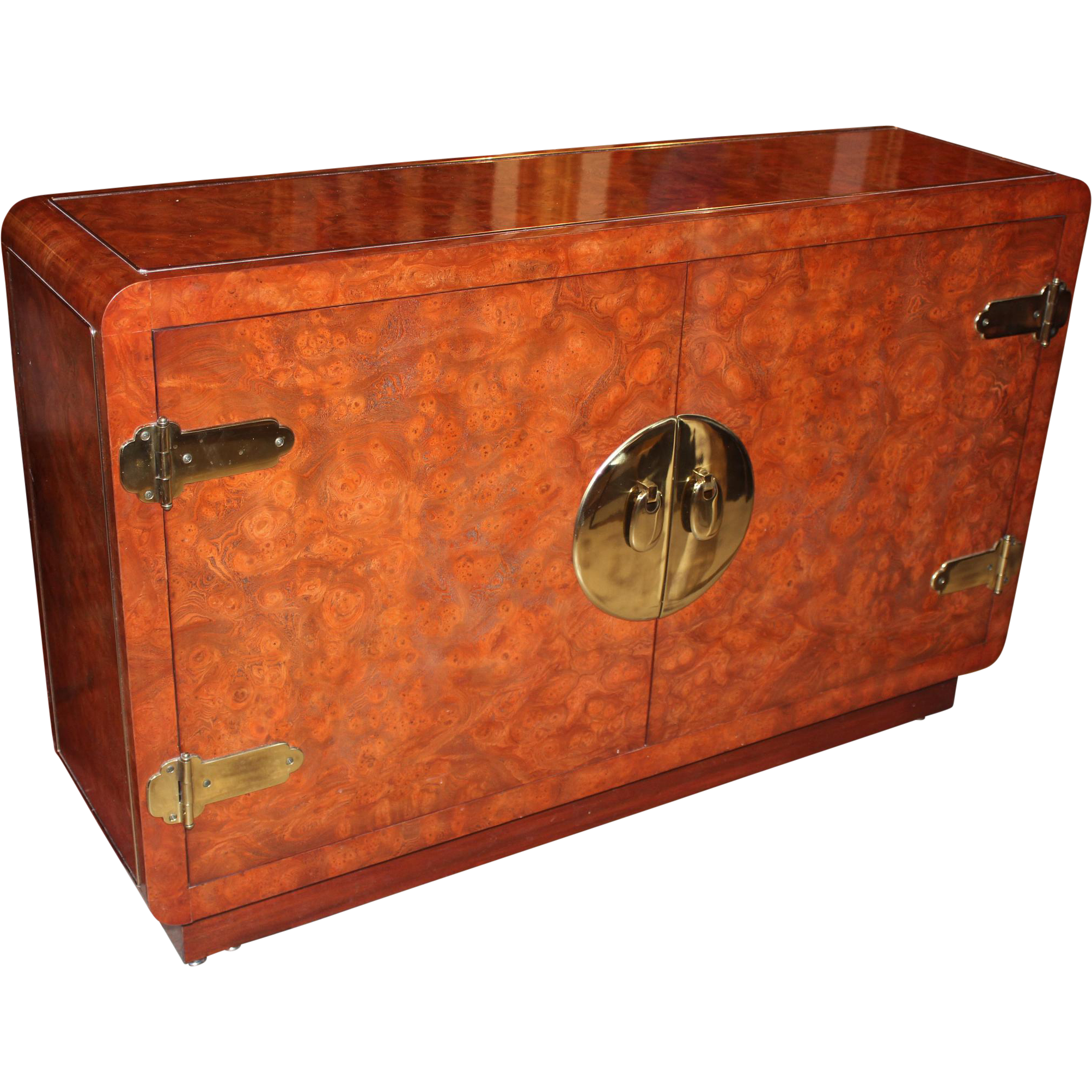 Mastercraft  Amboyna Burl Wood Credenza in Asian Motif