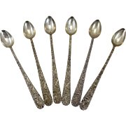 Set of Six S. Kirk & Son Sterling Repousse Iced Tea Spoons