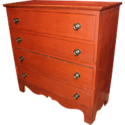 19th c Two Drawer Red Painted Blanket Chest with Cyma Shaped Skirt