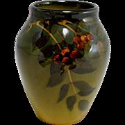 Standard Glaze Rookwood #915F Vase with Leaf & Berry Decoration Artist Signed and Dated 1903