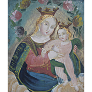 19th c Continental Framed Oil Painting Icon on Tin with Madonna & Child