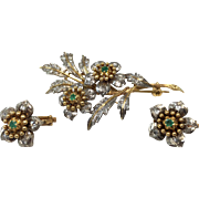 18K Gold, Diamond, & Emerald French Pin & Earring Set circa 1950
