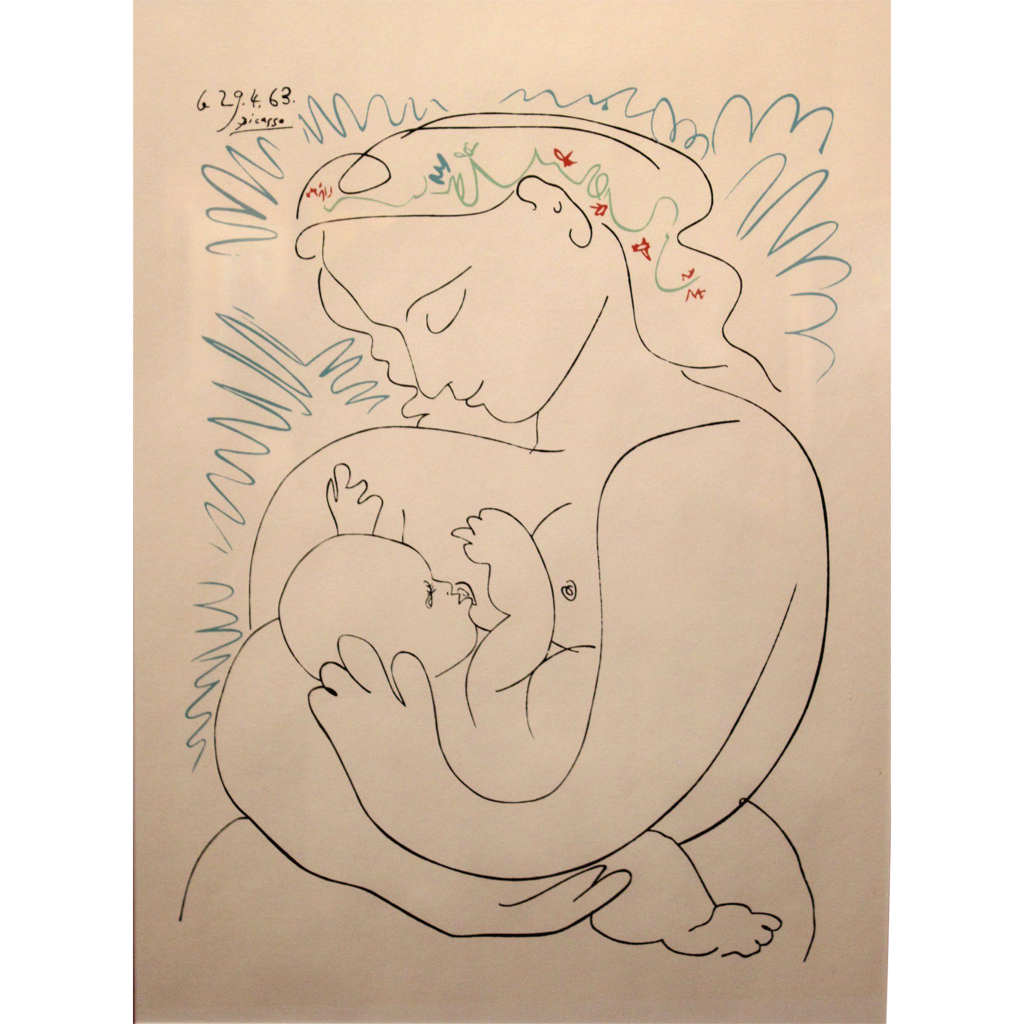 Pablo Ruiz Picasso 1963 Print Mother and Child / Le Grande Maternite