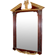 Mid 19th c English Mahogany Mirror with Archetypal Pediment