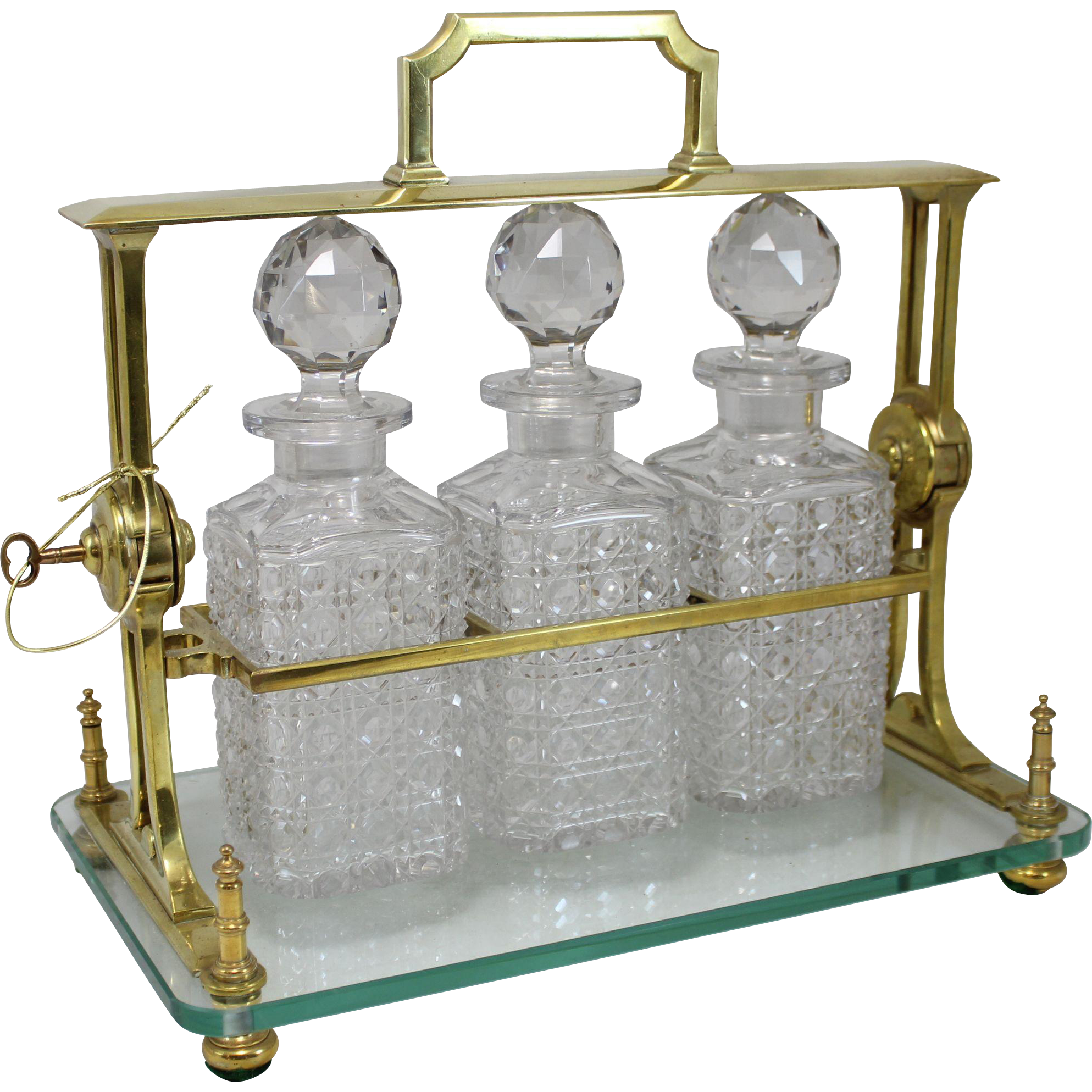 19th c Brass & Glass Tantalus with 3 Cut Glass Decanters