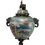 19th c Chinese Bronze Cloisonne Tripod Censer with Foo Dog