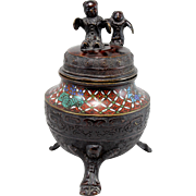 19th c Japanese Bronze Champleve Tripod Covered Urn or Censer